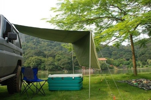 2.8M Awning Camper Trailer Roof Top Tent Beach Camping SUVs Truck Car Rack UV Roof Top Tent Store