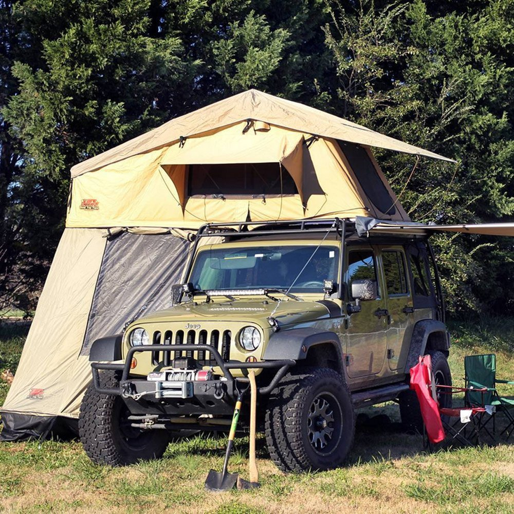 Tuff Stuff Overland Rooftop C&ing Tent with Annex Room- Black Driving Cover & Tuff Stuff Overland Rooftop Camping Tent with Annex Room- Black ...