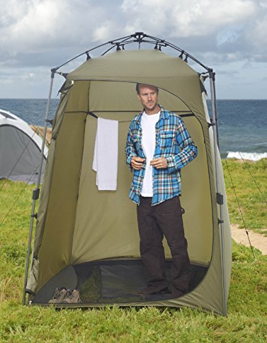 This is a pop-up privacy tent, portable changing room, portable bathroom and shower room. The compression hub and telescoping poles make set-up and ...